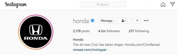 honda logo as instagram profile picture
