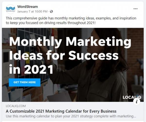 wordstream downloadable marketing calendar