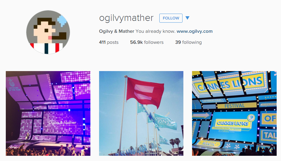 Ogilvy & Mather creative Instagram feed