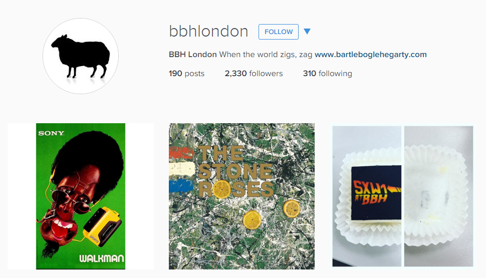 BBH London creative Instagram feed